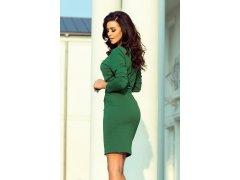 b6b5d278aec2 Dámské oblečení šaty » Dámské šaty v lahvově zelené barvě se širokým páskem  k zavazování 209-2