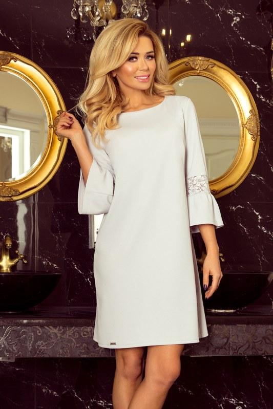 c6547747aa04 Světle šedé dámské šaty s krajkou na rukávech 190-2 MARGARET ...