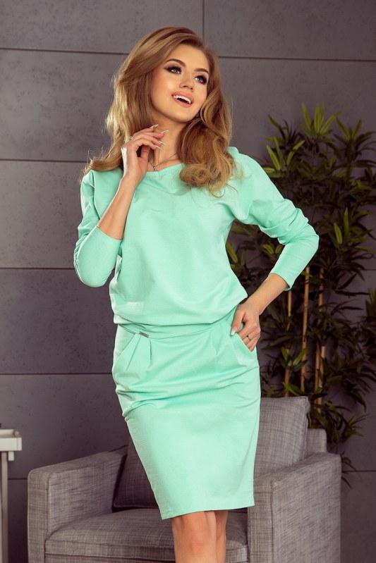 Dámské teplákové šaty v mátové barvě s výstřihem na zádech model 5917732