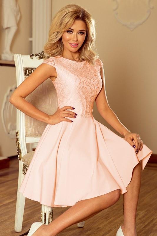 Dámské šaty MARTA v broskvové barvě s krajkou model 5998792