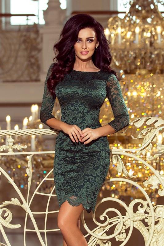 Dámské světle zelené krajkové šaty s ozdobným lemováním model 6332285