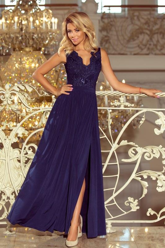 Dlouhé tmavě modré dámské šaty bez rukávů s vyšívaným výstřihem model 6369438