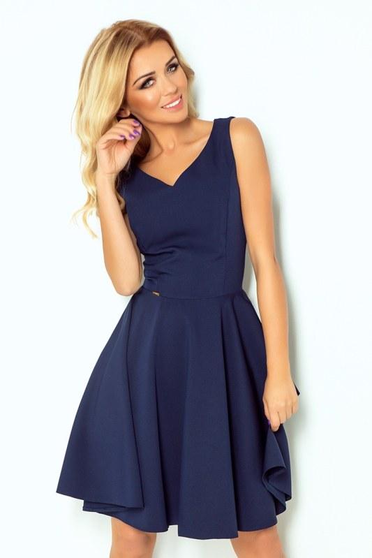 Tmavě modré šaty s výstřihem ve tvaru srdce model 4976613