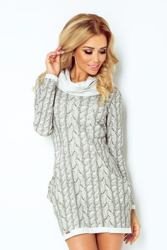 Dámské pletené šaty s rolákem a kapsami model 4976648