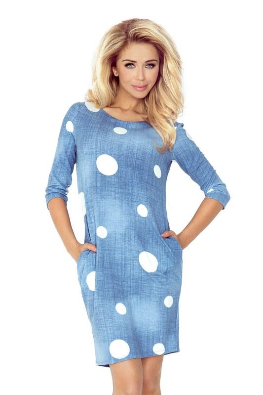 Džínově modré šaty s kapsami a bílými kolečky 40-11 - Dámské ... 4ffd5518e0