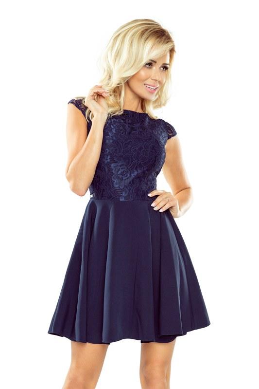 c8035e73659b Tmavě modré šaty s krajkou 157-1 - Dámské oblečení šaty • SHOPiq.cz