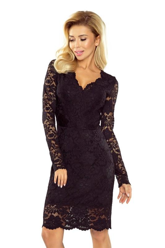 Černé krajkové šaty s dlouhými rukávy a výstřihem model 5406033
