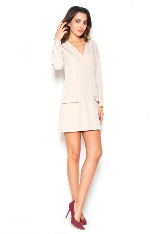 Dámské šaty K373 beige - Dámské oblečení šaty