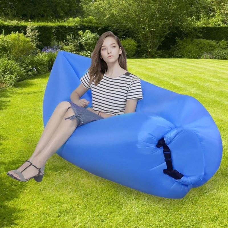 Nafukovací vak Lazy bag dvouvrstvý - modrý