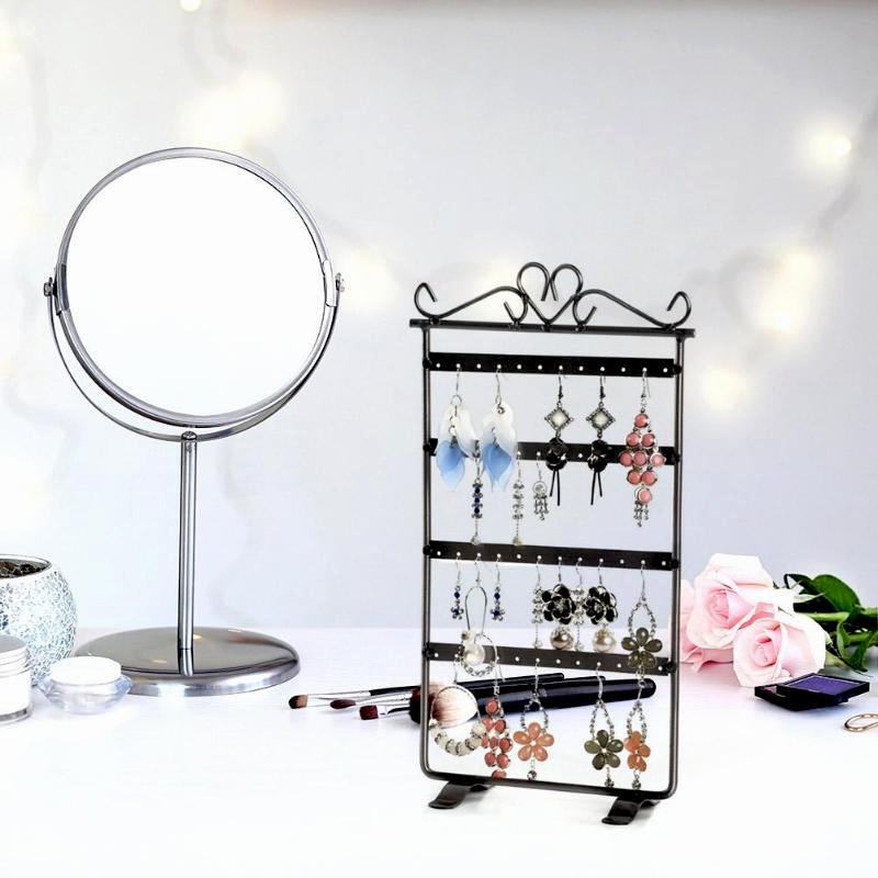 Stojan na šperky a náušnice kovový - černý
