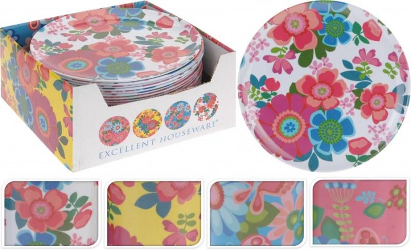 Plastový talíř - mělký, malý - květinový design