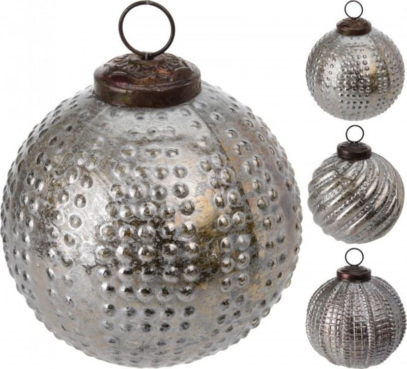 Vánoční koule stříbrná - vystouplý vzor