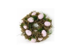 Věnec velikonoční s vajíčky světle růž /22cm