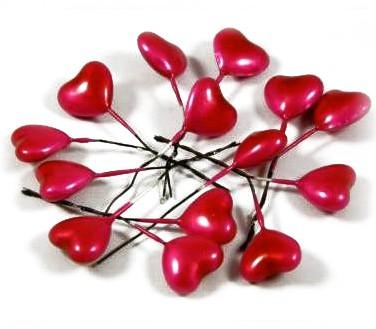 Srdce na drátku tmavě Rúžové lesk 40ks