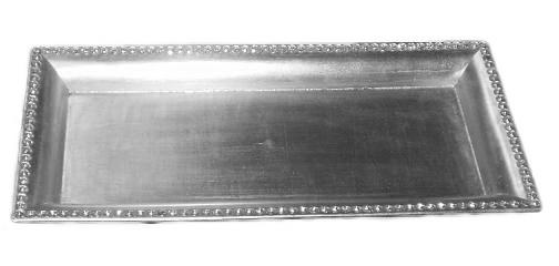 Tác 37x17cm stříbrný se skleněnými.kam