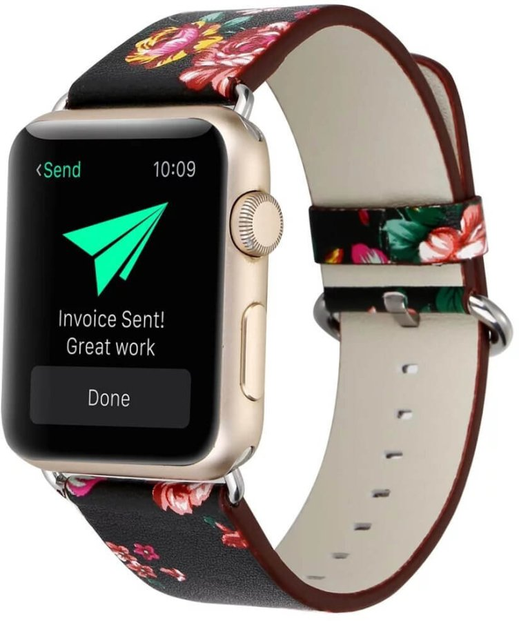 4wrist Kožený řemínek pro Apple Watch s motivem květin 42/44 mm