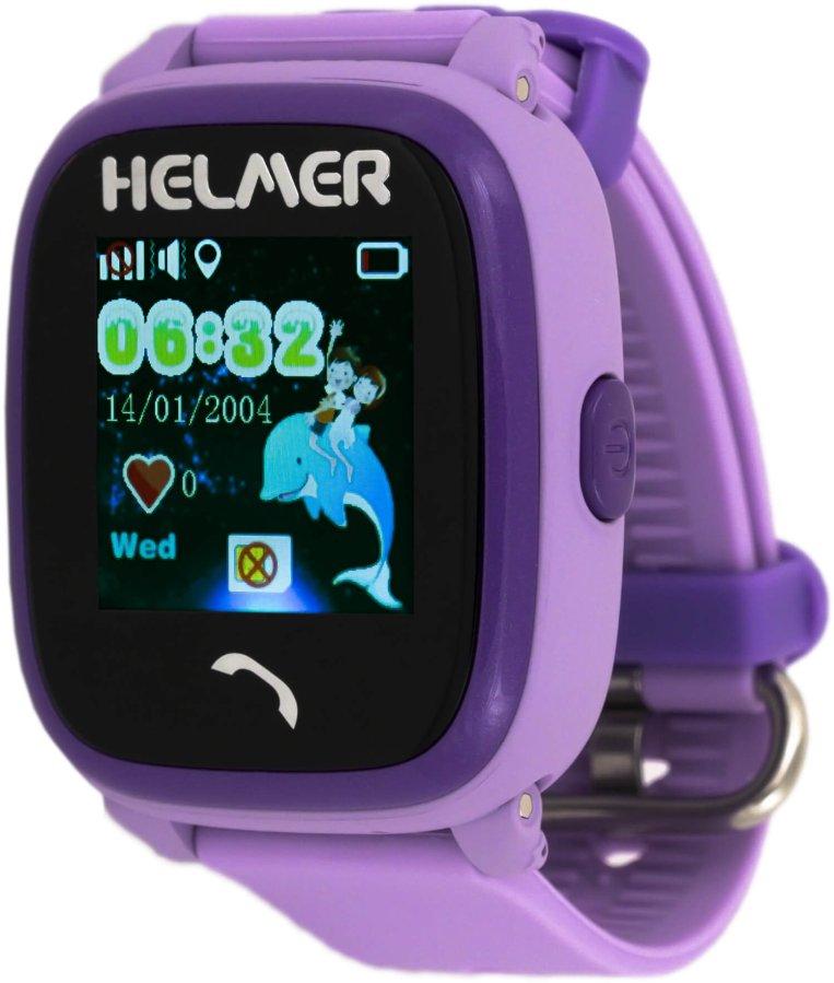 Helmer Chytré dotykové vodotěsné hodinky s GPS lokátorem LK 704 fialové - SLEVA II