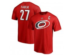 Tričko 27 Justin Faulk Stack Logo Name & Number Hurricanes