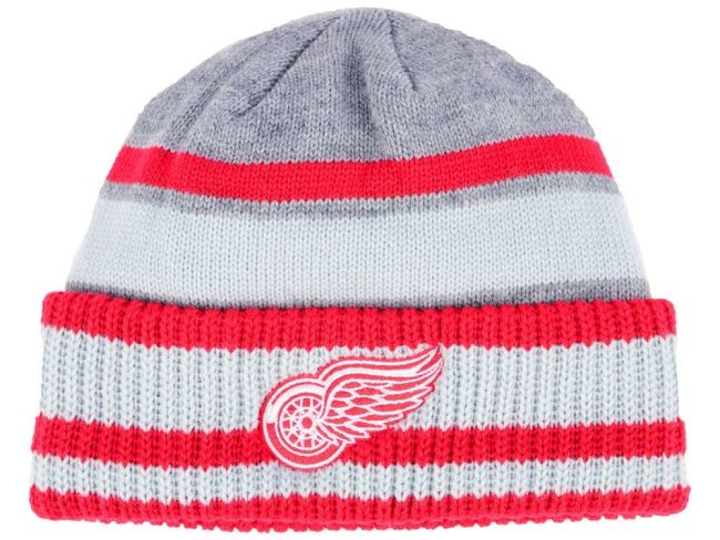 Zimní čepice adidas NHL Heathered Grey Beanie Wings - Detroit Red Wings Čepice, kulichy