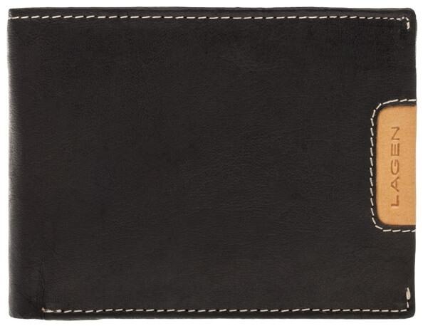 Lagen Pánská kožená peněženka 615195 Black/Tan - Módní doplňky Peněženky