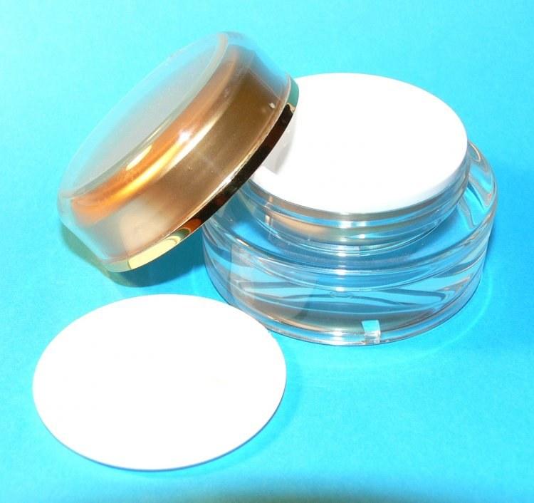 Dóza kosmetická 15 ml dvouplášťová vč. těsnící plastové vložky a zlatého víčka