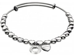 Hot Diamonds Ocelový náramek Emozioni Silver Heart Bangle DC094