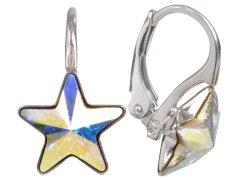 Troli Dívčí stříbrné náušnice Star 10 mm Crystal AB