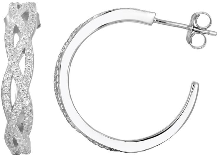 Beneto Luxusní stříbrné náušnice kruhy s krystaly AGUP1173