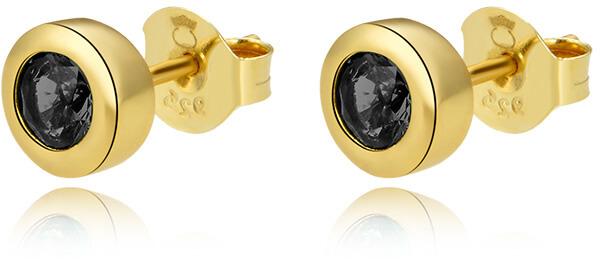 Beneto Pozlacené náušnice pecky ze stříbra s černými zirkony AGUP2259-GOLD
