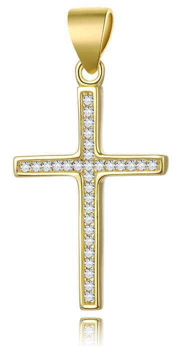 Beneto Pozlacený stříbrný přívěsek Křížek AGH592-GOLD