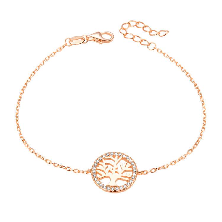 Beneto Růžově pozlacený stříbrný náramek se stromem života AGB485/20-ROSE