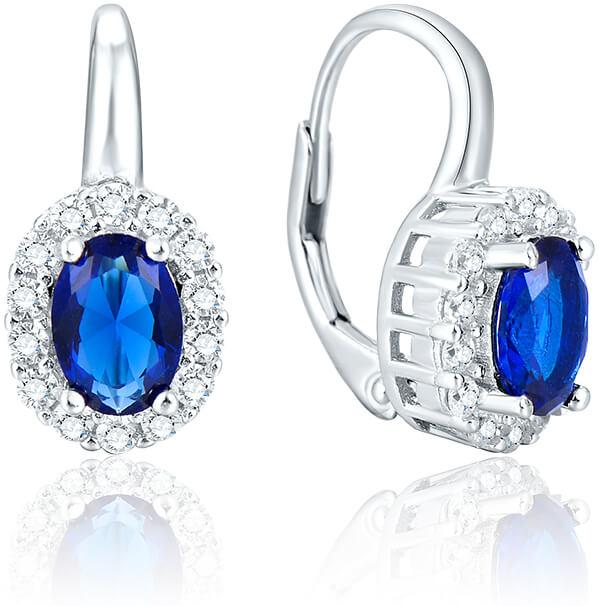 Beneto Stříbrné náušnice s modrými krystaly AGUC1167