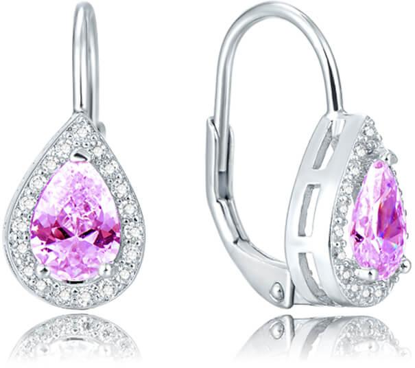 Beneto Stříbrné náušnice s růžovým krystalem AGUC1162