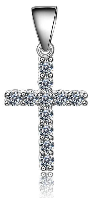 Beneto Stříbrný přívěsek se zirkony Křížek AGH593