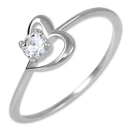 Brilio Silver Stříbrný zásnubní prsten s krystalem Srdce 426 001 00535 04 50 mm