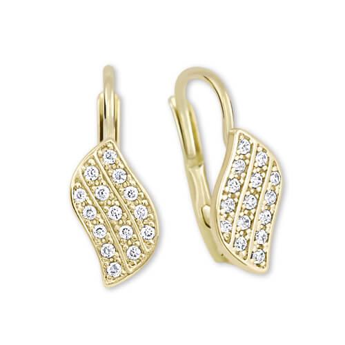 Brilio Zářivé náušnice ze žlutého zlata s krystaly 239 001 00648
