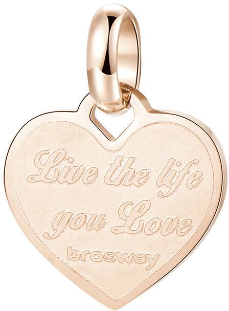 Brosway Růžově zlacený ocelový přívěsek srdce Très Jolie BTJM289