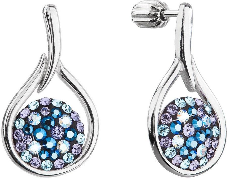 Evolution Group Nadčasové stříbrné náušnice s krystaly Swarovski 31305.3 Blue Style