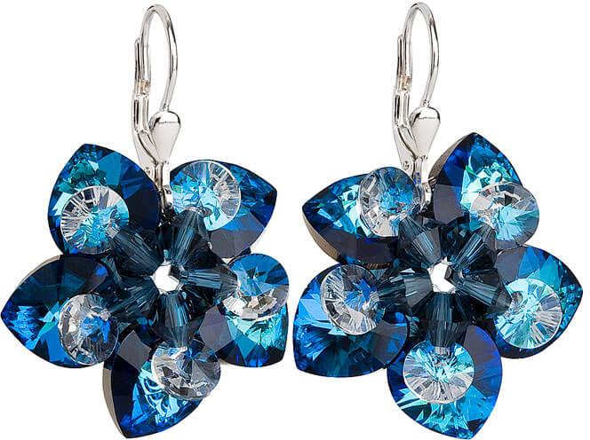 Evolution Group Náušnice květiny 31130.5 bermuda blue - Šperky Náušnice