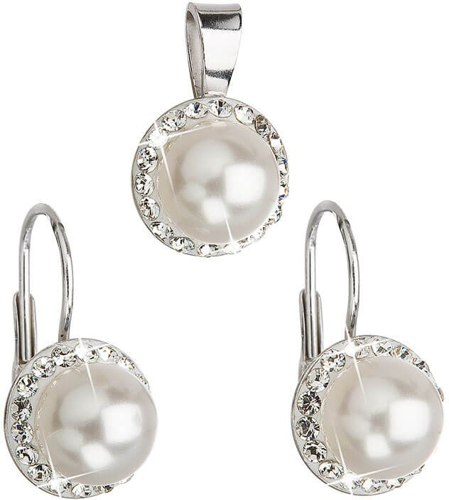 Evolution Group Sada s perlami a krystaly Swarovski 39091.1 bílá - Šperky Soupravy šperků