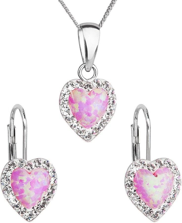 Evolution Group Srdíčková souprava šperků 39161.1  a  light rose s.opal (náušnice, řetízek, přívěsek)