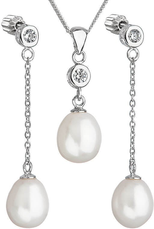 Evolution Group Stříbrná perlová sada se zirkony Pavona 29005.1 AAA bílá (náušnice, řetízek, přívěsek)