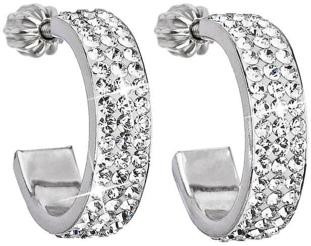 Evolution Group Stříbrné náušnice půlkruhy 31119.1 krystal - Šperky Náušnice