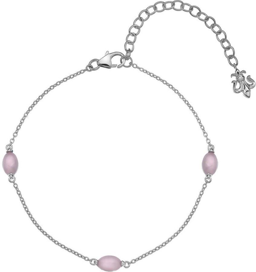 Hot Diamonds Stříbrný náramek pro narozené v říjnu Anais růžový křemen AB010