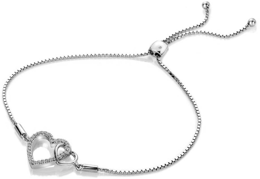 cf441496e Hot Diamonds Stříbrný náramek s pravým diamantem Flora DL589 ...