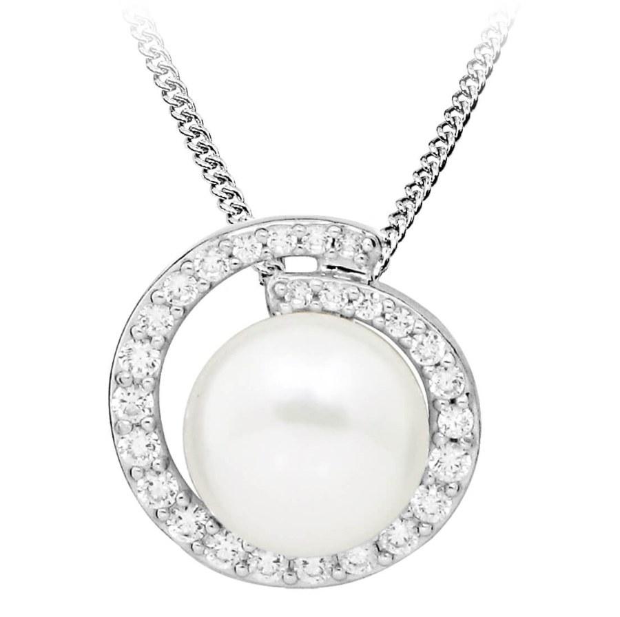 JVD Stříbrný přívěsek s přírodní perlou a zirkony SVLP0328SH8P100