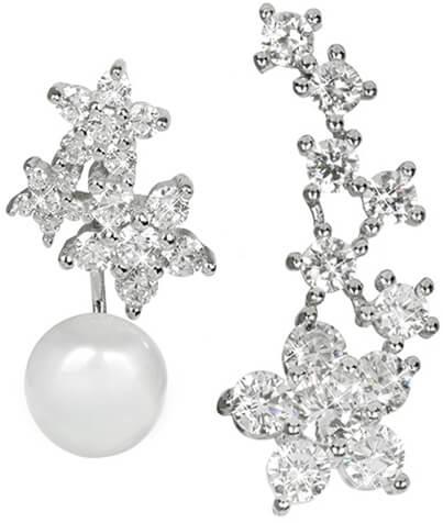 JwL Jewellery Asymetrické náušnice - dvojnáušnice s pravou bílou perlou a záušnice se zirkony JL0260 - Šperky Náušnice