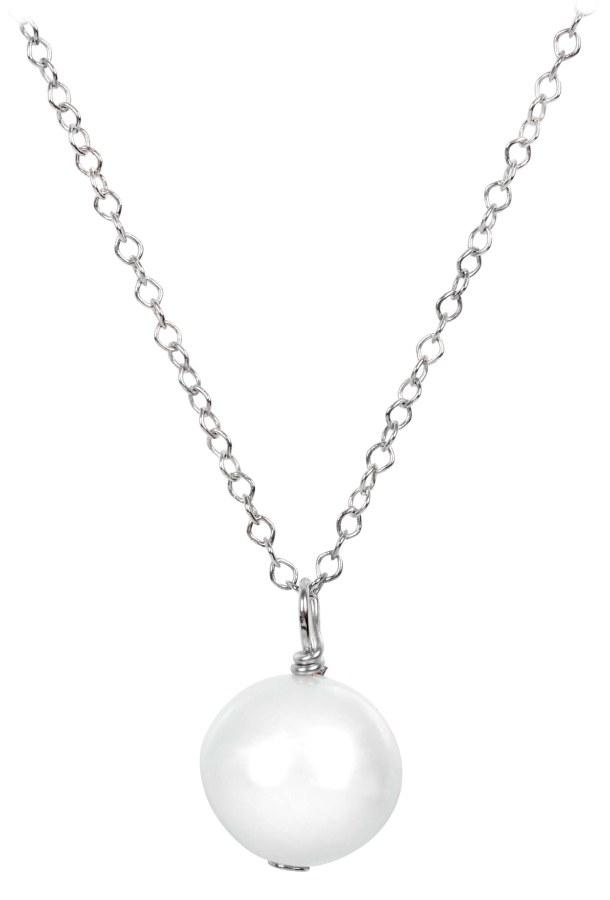 JwL Jewellery Pravá perla bílé barvy na stříbrném řetízku JL0087 - Šperky Náhrdelníky