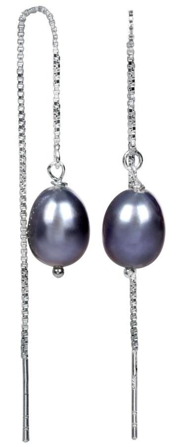 JwL Jewellery Stříbrné řetízkové náušnice s kovově modrou perlou JL0207 - Šperky Náušnice