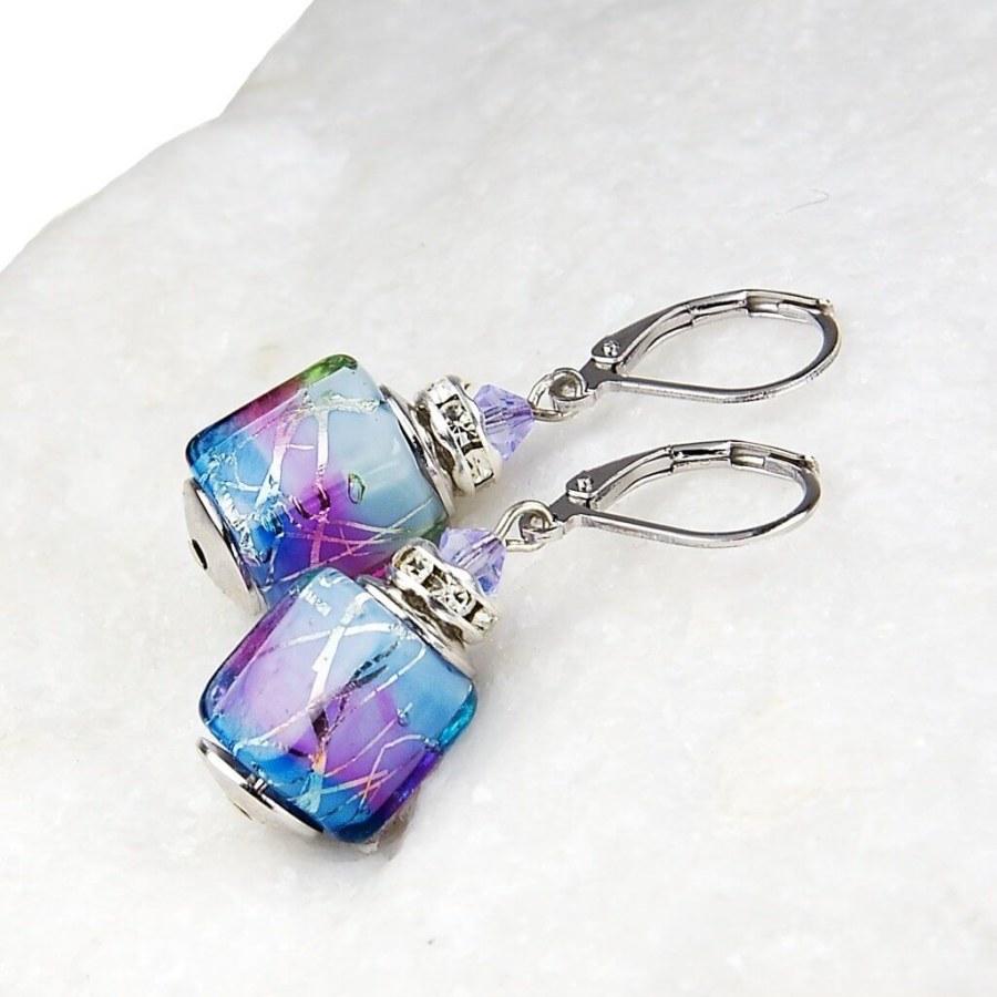 Lampglas Elegantní dámské náušnice Vivienne z perel Lampglas s ryzím stříbrem ESA22